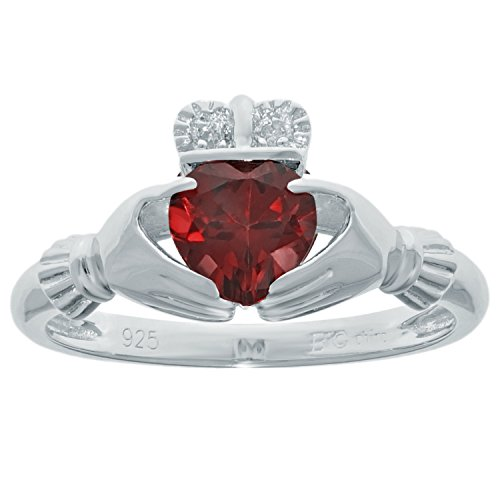 .82 Ct Heart Natural Red Garnet Diamond Accent 925 Sterling Silver Ring Sz 6