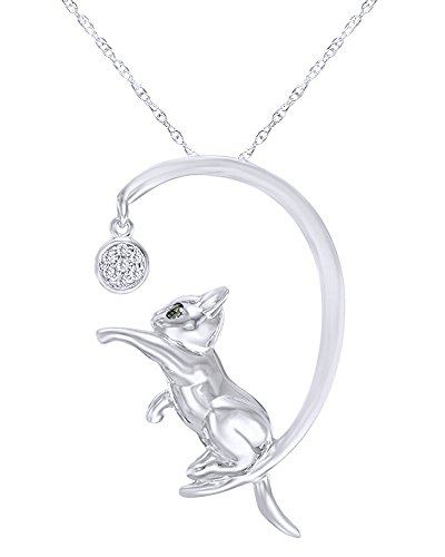 Wishrocks Enhanced Round Cut Black and White Diamond Accent Cat with Ball Pendant in 14K White Gold Over Sterling Silver