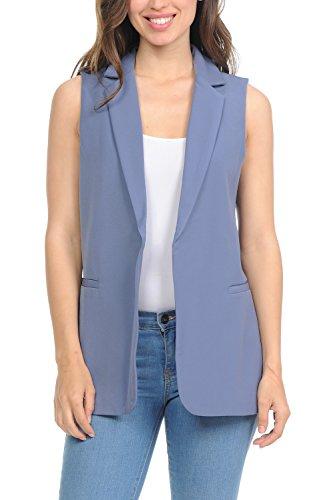 Auliné Collection Womens Work Casual Open Front Notched Lapel Collar Blazer Vest - Denim Blue Large (Notched Coat Fur Collar)