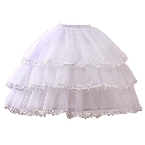 - Noriviiq Womens White 3 Hoop Petticoat Skirt Underskirt Lace Lolita Dress Crinoline Adjustable Style2