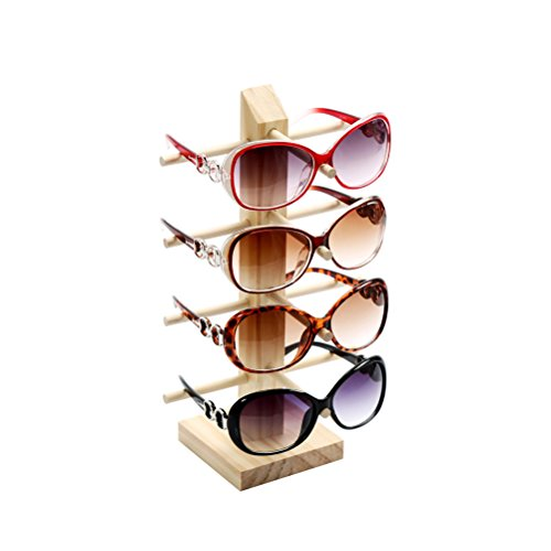 LUOEM Wooden Sunglasses Display Holder Eyeglasses Organizer Stand Rack with 4 Layers by LUOEM (Image #1)