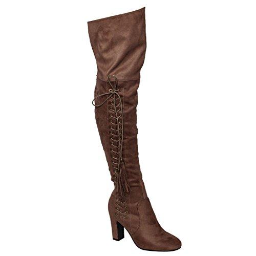 Beston FM36 Frauen Seitlicher Reißverschluss Chunky Wrapped Heel Oberschenkel Hohe Quaste Boot Taupe