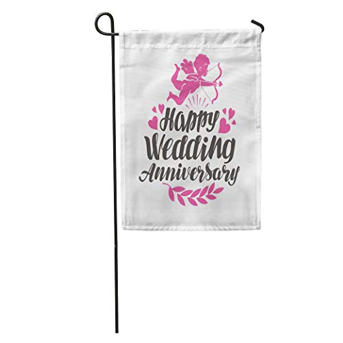 Semtomn Garden Flag Marriage Happy Wedding Anniversary Label Beautiful Lettering Sign Celebration Party Home Yard House Decor Barnner Outdoor Stand 28x40 Inches Flag