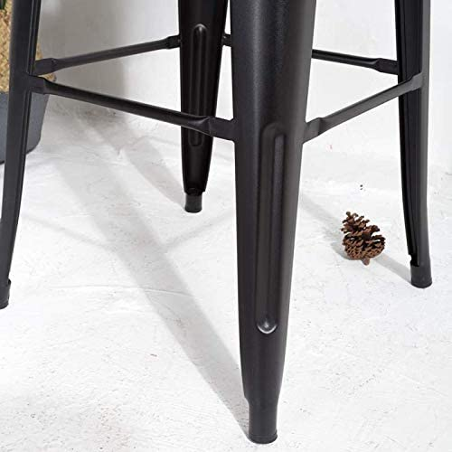 Kosmi Tabouret de Bar en m/étal Noir Mat avec Petit Dossier Chaise de Bar Tabouret m/étal Hauteur 66cm Parfait pour Table de 90 cm