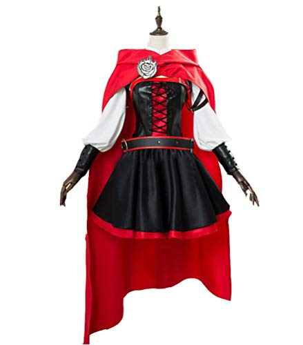 DOUJIONG Cosplay RWBY Ruby Rose Halloween Costume Vintage Dress Full Set (S, -
