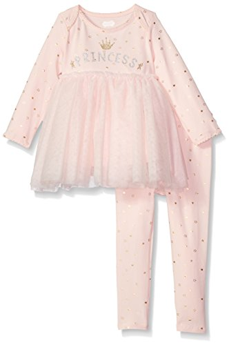 Mud Pie Baby Girls Princess Tunic and Legging Two Piece Playwear Set, Pink, 3-6 Months