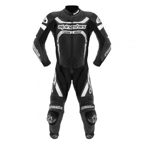 Alpinestars Motegi Men's 1-Piece Leather On-Road Racing Motorcycle Race Suits - Black/White / Size 52