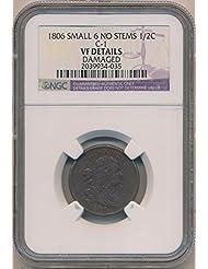 1806 P Draped Half Cent VF Details NGC