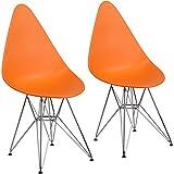 Cheap Flash Furniture 2 Pk. Allegra Series Teardrop Orange Plastic Chair with Chrome Base