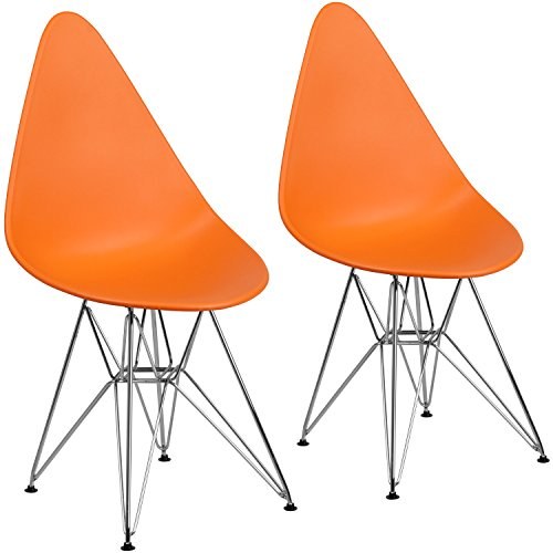 Cheap Flash Furniture 2 Pk. Allegra Series Teardrop Orange Plastic Chair with Chrome Base