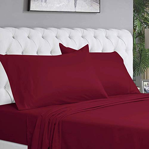 BYSURE 6 Piece Hotel Luxury Bed Sheets Set - Ultra Soft 1800 Thread Count Double Brushed Microfiber, Deep Pockets, Hypoallergenic, Wrinkle & Fade Resistant Cooling Bed Sheets(King, Burgundy)