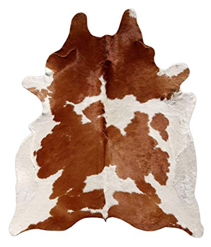 (A-ReBorn Brown and White Cowhide Rug Natural Cow Skin Hair On Leather Brown Medium 5 X 4)