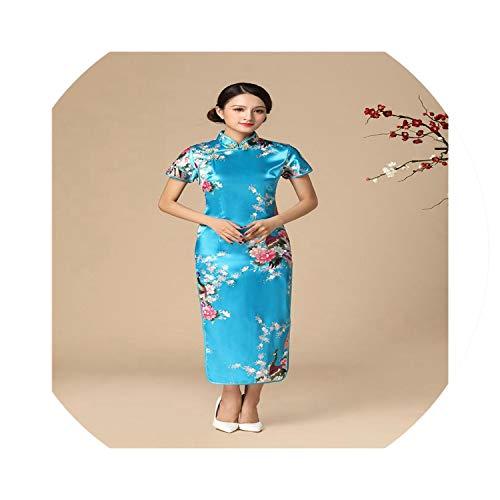 Spring Moon chinese dresses Women Satin Long Cheongsam Oriental Bride Wedding Party Dress Handmade Button Qipao,Blue,S