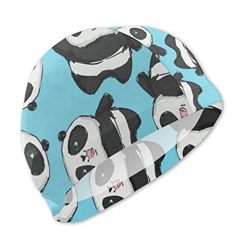 BRADL Swim Cap Polyester Funny Panda Cute UV Protection Lightweight Swimming Cap for Kids