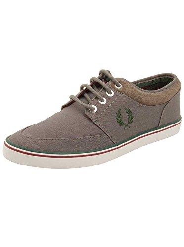 Fred Perry Men's Stratford Canvas Sneaker Mid Grey/Ivy/Maroon 9 UK