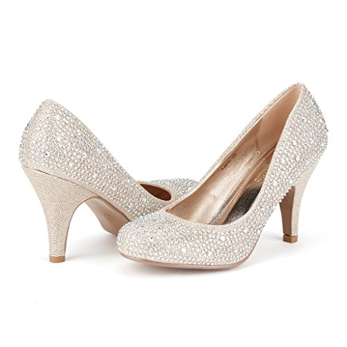 DREAM PAIRS S-ARPEL Women's Formal Evening Dance Rhinestones Classic Low Heel Pumps Shoes New Gold Glitter Size 11