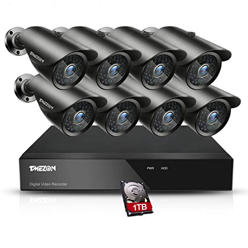 TMEZON 8 Channel 1080P HDMI AHD DVR HVR NVR 3 in 1 Security System Including 8X 2000TVL 2.0MP Waterproof Bullet Surveillance Camera w/ 42 IR LEDs Night Vision Up to 130ft Remote View 1TB HDD Review