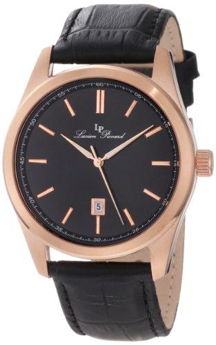 Lucien Piccard Men's 11568-RG-01 Eiger Black Dial Black Leather Watch