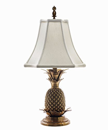 Brass White Shade Pineapple - LAMPS - WILLIAMSBURG PINEAPPLE TABLE LAMP - ANTIQUE BRASS WITH OFF WHITE SHADE