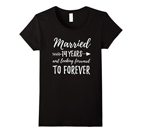Womens Fourteen 14 Year Wedding Anniversary | Married Gift Tee Medium Black