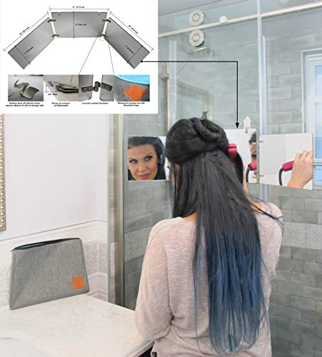 GAT Trifold Mirror - 3 way mirror used for Self Hair Cutting, Fogless Shaving in the Shower, Makeup, Hair styling and Coloring. The perfect travel mirror. G.A.T. -''Go Anywhere Tri fold'' by Viribus. by Viribus (Image #1)
