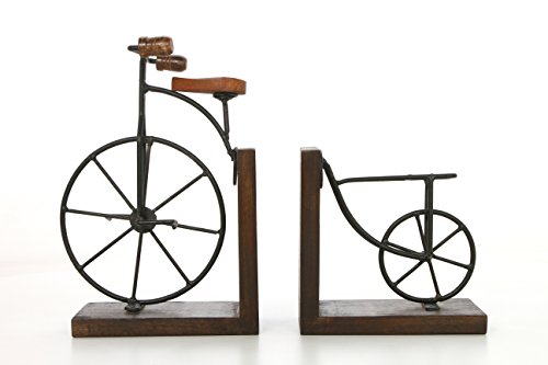 """Hosley 10"""" High, Decorative Tabletop Bicycle Bookends, Black. Ideal Gift for Wedding, Home, Party Favor, Spa, Reiki, Meditation, Bathroom Settings P1"""