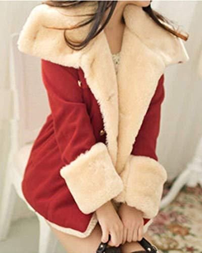 Coulisse Lana Huixin Pelliccia Coat Donna Con Cappotto Giacca Confortevole Lunga Costume Laterali Cappotto Caldo Con Rot Cappuccio Invernali Tasche Collo Manica Breasted Double aaYqv