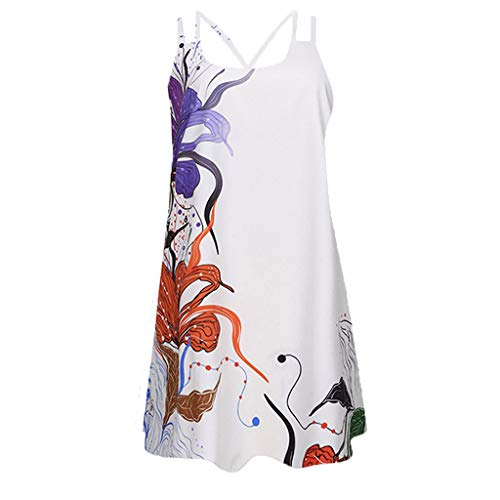 Sunhusing Womens Sling Off-Shoulder Flower Print Tank Top Dress Sleeveless Mini A-Line Beach Sundress