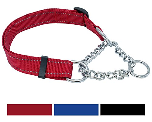 Vcalabashor Martingale Training Dog Collars for Large & Xlarge Dogs/Premium Quality Limited Cinch Collar / 3M Reflective Stitching Nylon/Welded Steel Chain with Chrome Plating / 16-29'' Red by Vcalabashor