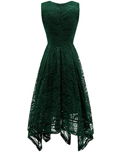 Spitzenkleid bridesmay Damen Elegant Brautjungfernkleider Cocktail Green unregelmäßig Dark 446vIqZ