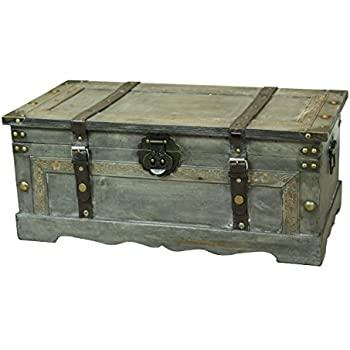 Superior Rustic Gray Large Wooden Storage Trunk