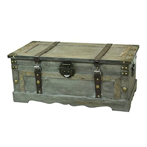 Vintiquewise Rustic Gray Wooden Storage Trunk