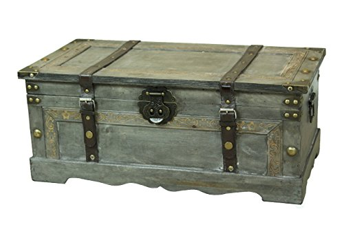 Rustic Gray Large Wooden Storage Trunk - Decorative Trunk