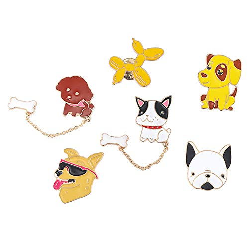 Scarf Dog Clothing - Apol 6 Pcs Cute Puppy Dog Brooch Pin Clothing Silk Scarf Bag Backpack Decoration for Kids Teens Women Lover