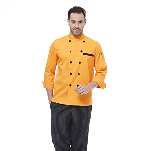 JXH Chef Uniforms men's orange long sleeve chef - Camo Chef Coat