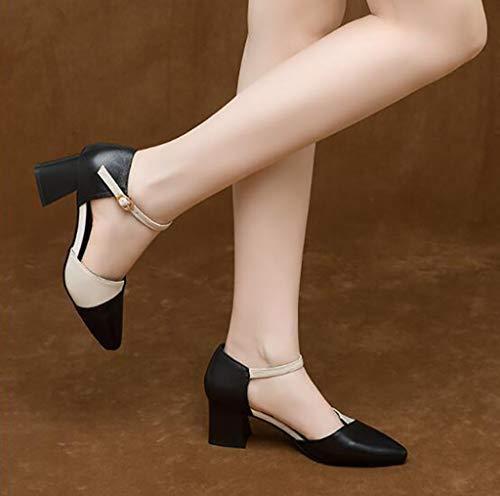 Sola B Zapatos una con Hebilla de Gruesos Mujer Zapatos Baotou con Zapatos Alto Zapatos Individuales de tacón WYwq1cOa6