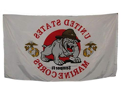 State Toothpick Holder - Hebel 3x5 3вЂx5†USMC Marines Devil Dog Mascot EGA Flag Banner Grommets Fade Resistant   Model FLG - 1517
