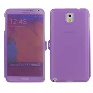 New Case for Samsung Galaxy Note 3 N9000 Flip Soft Transparent TPU Gel Back Cover-Purple(Random Gift 2 PCS Cartoon Sticker)
