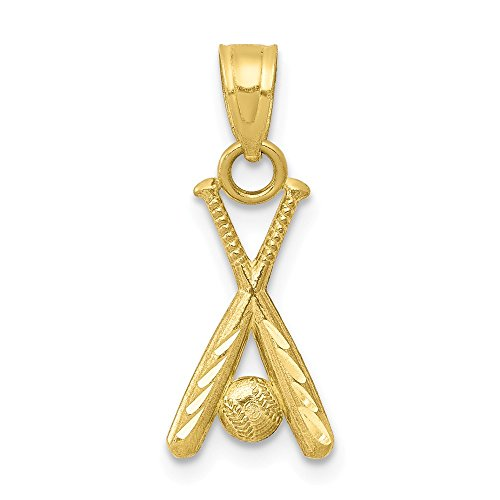 (Solid 10k Yellow Gold Baseball with Bats Pendant Charm (9mm x 20mm))