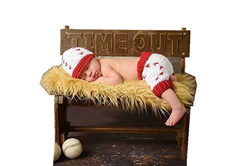 (Newborn Boy Girl Baby Costume Outfits Photography Props Crochet Knit Hat Pants Wool Baseball)