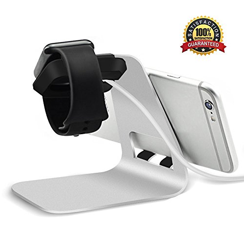 Apple watch Stand, Sunblo 2 in 1 Apple iWatch iPhone Charging Stand Desktop Holder for Apple Watch 1/2/3 Series and iPhone X/ 8 Plus/7/ 6 and other Cell phones(Silver)