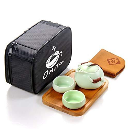 Porcelain Teapot Teacups Set Tea - OMyTea Portable Travel Tea Set - 100% Handmade Chinese/Japanese Vintage Kungfu Gongfu Tea Set - Porcelain Teapot & Teacups & Bamboo Tea Tray & Tea Mat with a Portable Travel Bag (Green-2 cups)