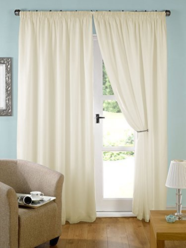 Pair Of Ready Made Cream Lined Tape Top Voile Curtains (45