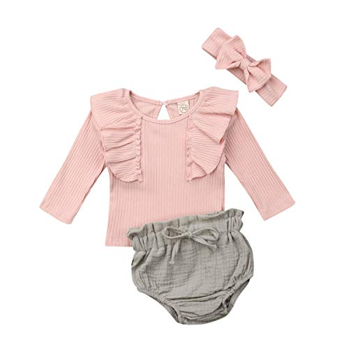 Infant Baby Girl Flutter Long/Short Sleeve Shirt Cotton Linen Bubble Pants Headband Summer Clothes Outfit Sets 0-24M (Long Sleeve top&Bubble Pants,0-6 Months)