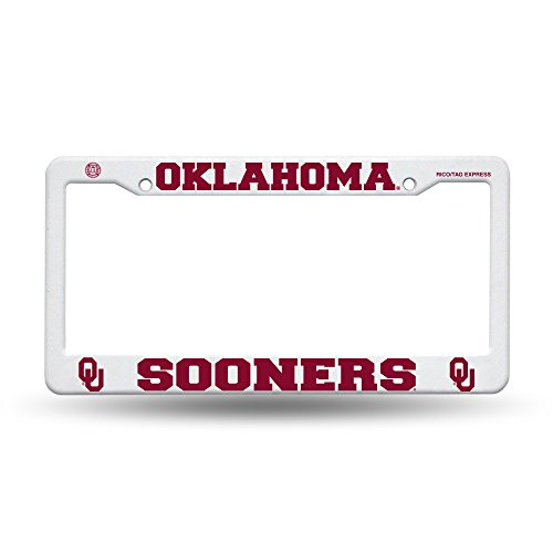 University of Oklahoma Sooners - white plastic License Plate Frame w/crimson text by Ohms Gifts