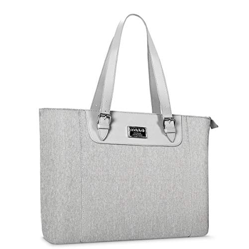 MOSISO 15.6-17 inch Laptop Tote Bag with Adjustable Strap & Compartment, Gray