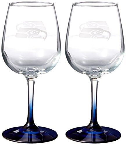 NFL Seattle Seahawks Wine Glass, 12-ounce, (Seahawks Wine Glasses)