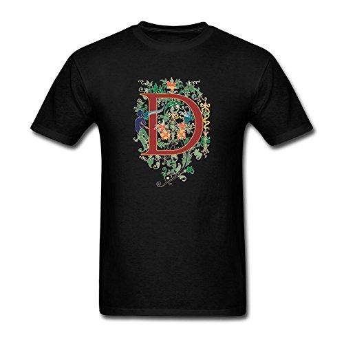 KkOmade Men's Letter D Logo Short Sleeve T-Shirt Small Black ()