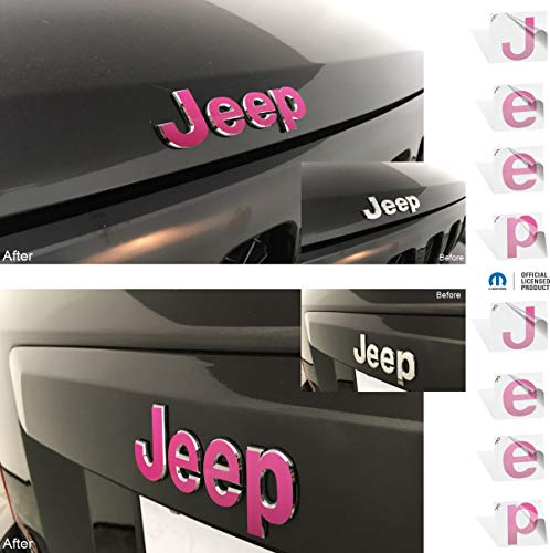 Reflective Concepts – JEEP Front and Rear Emblem Overlay Decal Stickers – 2007-2017 Jeep Patriot – (Color: Hot Pink)