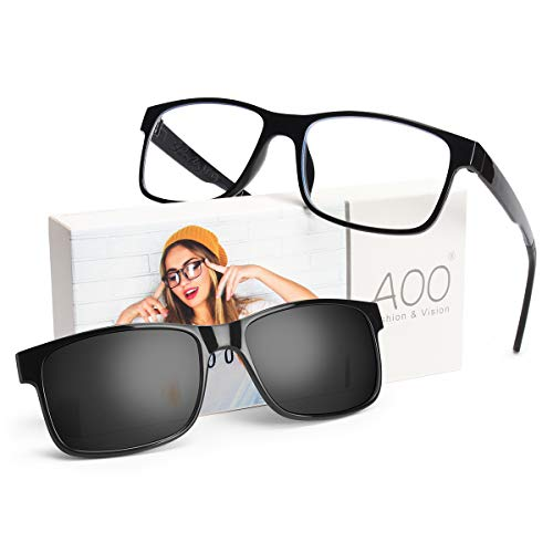 (AOO [2 in 1 Set] Blue Light Blocking Glasses with Magnetic Polarized Sunglasses Clip on, Lightweight Computer Glasses for Women Men,Anti Eyestrain Filter Blue Light Glasses with UV Protection)